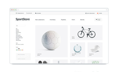Sport webstore site template mock up isolated 3d illustration see more maxwellsz