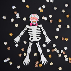 Dia de los Muertos. Mexican skeleton for day of dead.