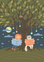 Bedtime reading. Cute little girl with fantasy cat read books in the evening under the tree. Original vector illustration.