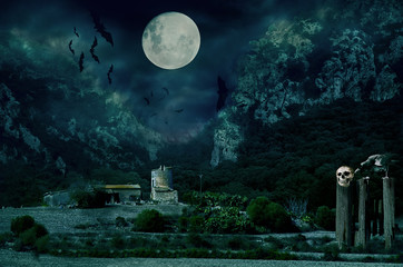 Halloween house with Moon and bats