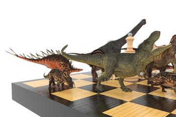 шахматы с динозаврами бой