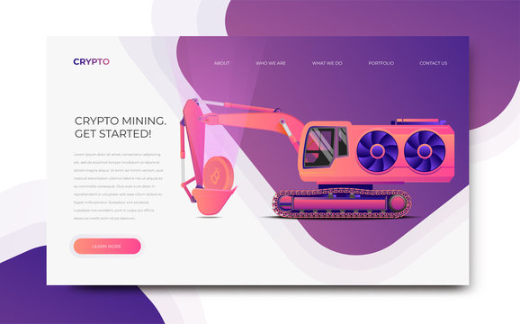 GPU Miner Digger. Cryptocurrency mining themed banner template.