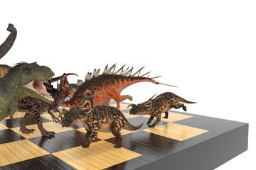 динозавры на шахматной доске