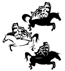 pegasus horses with fairy butterfly wings - black and white vector silhouette design