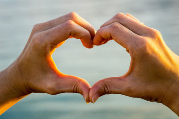 Heart of love formed of two hands in warm sunlight