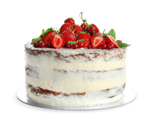 Delicious homemade cake with fresh berries on white background