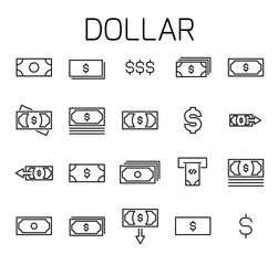 Dollarl related vector icon set.