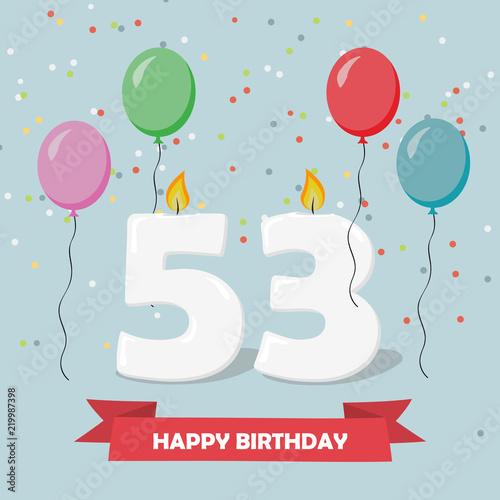 53 years selebration happy birthday greeting card with candles 53 years selebration happy birthday greeting card with candles confetti and balloons m4hsunfo