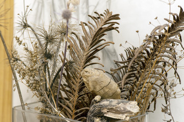 bouquet of dried flowers in a vase