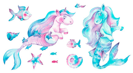 A cute unicorn is relaxing with coctail on the blue waves of see.