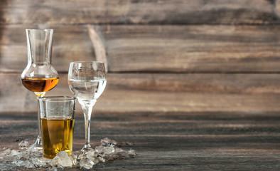 Alcoholic drinks with ice whisky liquor vodka