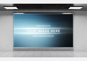 Horizontal Billboard in Underground Subway Station Mockup