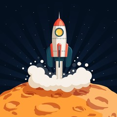 Rocket takes off from the surface of the moon or another planet. Colored illustration in cartoon style.