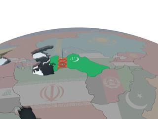 Turkmenistan with flag on globe
