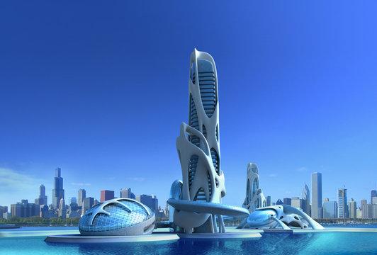 Futuristic city architecture for fantasy and science fiction