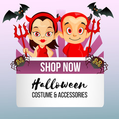 halloween theme shop with little devil couple