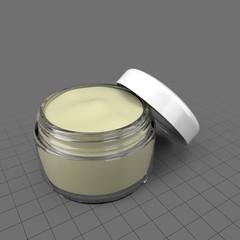Open face cream jar