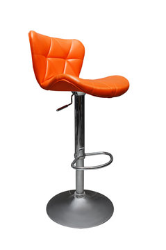orange modern bar chair from beauty salon interior isolated on white background