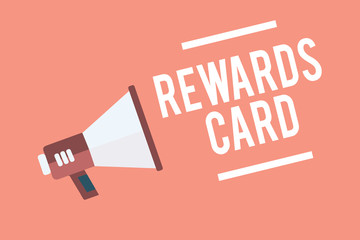 Text sign showing Rewards Card. Conceptual photo Help earn cash points miles from everyday purchase Incentives Megaphone loudspeaker pink background important message speaking loud