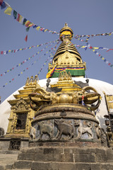 Buddhist stupa and vajra in Swayambunath temple