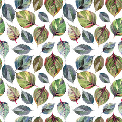 Beautiful lovely cute wonderful graphic bright floral herbal autumn orange green yellow leaves pattern watercolor hand sketch. Perfect for textile, wallpapers, wrapping paper