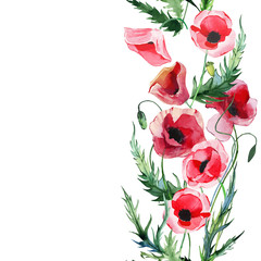 Wonderful lovely bright summer autumn herbal floral red poppies flowers with green leaves elements watercolor hand illustration. Perfect for greetings card, textile, wallpapers, banners