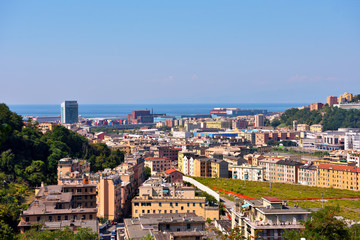 the panorama of the valpolcevera industrial area and the  Genoa Italy
