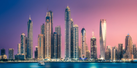 Dubai Marina bay view from Palm Jumeirah, UAE