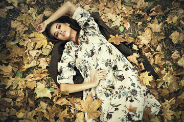 lying on the ground in autumn