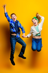 cheerful jumping kids