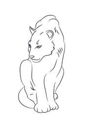 panther sits, drawn by lines, vector