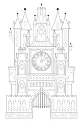 Black and white page for coloring. Illustration of fantastic medieval castle from a fairy tale with towers, gates and clock. Worksheet for children and adults. Vector image.