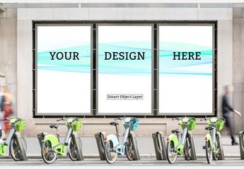 Three Paneled Billboard Mockup