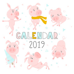 Creative calendar cover 2019 with cute pig. Symbol of the year in the Chinese calendar. Concept, vector editable template. Funny cartoon characters.Vector illustration.