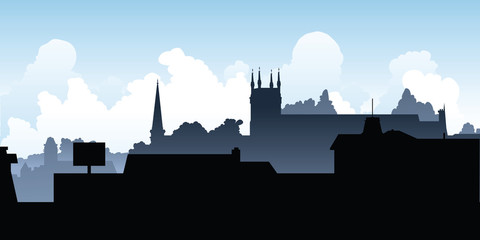 Skyline silhouette of the town of Pembroke, Ontario, Canada.