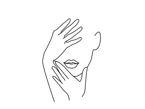 Line Drawing Art. Woman face with hands. Vector illustration. Concept for logo, card, banner, poster flyer