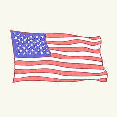 USA flag vector icon hand drawn style vector doodle design illustrations