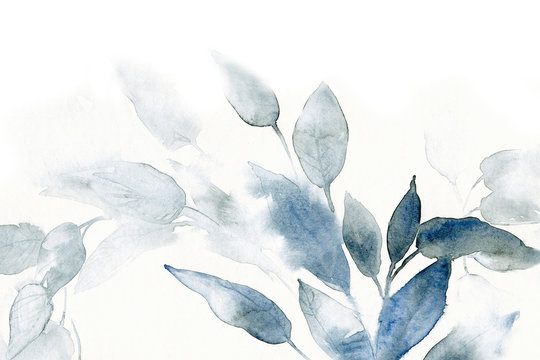watercolor background with leaves