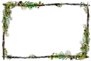 watercolor twig frame with holiday greens and red berries