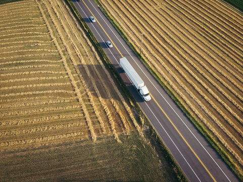 18 wheeler semi truck aerial view