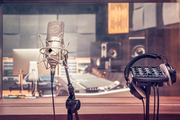 Recording Studio with microphone and headphones