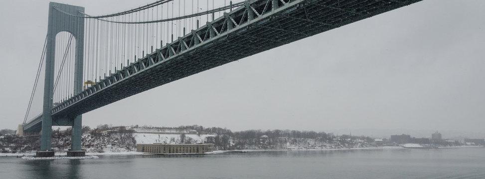 New York Harbor Landmarks in a snow storm