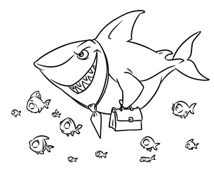 Predatory fish shark business competition superiority cartoon illustration isolated image coloring page