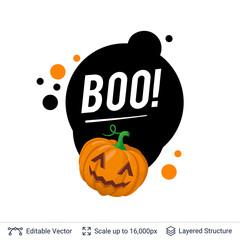 Carved pumpkin Jack lantern and Halloween text.