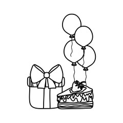 line present gift with cake and balloons birthday party