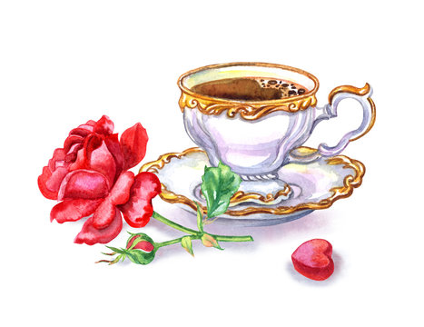Cup of coffee, tea, red rose and candy in the shape of heart, watercolor drawing on white background, isolated. Postcard to the day of lovers, birthday, etc.