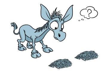 Buridanov donkey psychology term doubt cartoon illustration isolated image