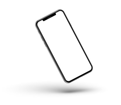 Black smartphones with blank screen, isolated on white background. High detailed. Template, mockup.