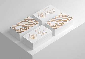 Four Stacks of Business Cards Mockup