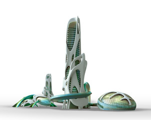Futuristic city architecture for fantasy and science fiction illustrations....